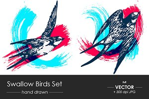 Swallow birds set of 2