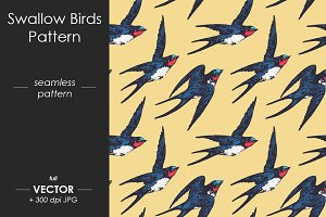 Swallow birds seamless pattern