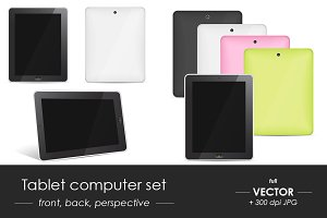 Tablet computer vector set