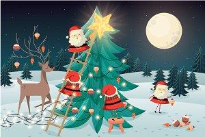 santas putting up christmas tree