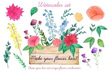 Wood box with flowers. Floristic set
