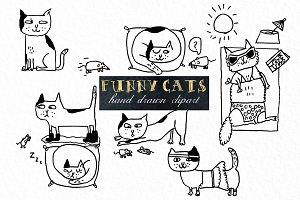 Funny cats. Handwritten clipart