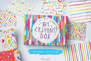 Seamless Hand-Drawn Crayons Patterns