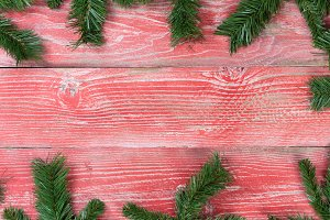 Xmas Border on rustic red wood