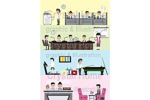 Flat business office interior banner