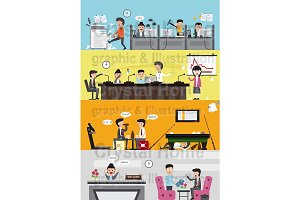 Flat messy office interior banner