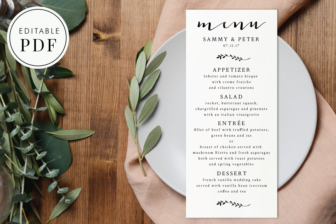 Wedding menu editable pdf invitation templates creative market junglespirit Images