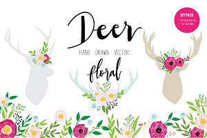 DEER AND FLORAL HAND DRAWN VECTOR