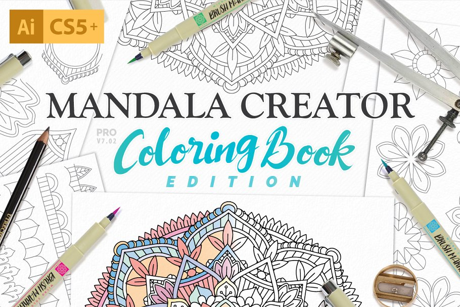 Coloring Book Mandala Creator ~ Illustrator Add-Ons ~ Creative Market