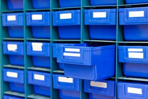 Blue drawer for keep equipment