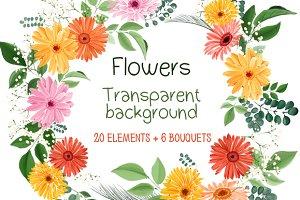 Floral set: 20 pieces, 6 bouquets