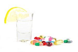 Vodka alcohol and drug pills