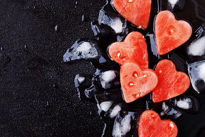 watermelon hearts with ice cubes for Valentine's Day