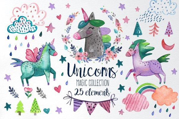 Watercolor unicorn magic collection