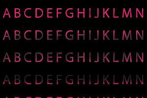 Pink color font collection vector
