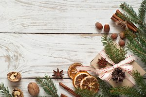 Spicy Christmas background. Baking ingredients.