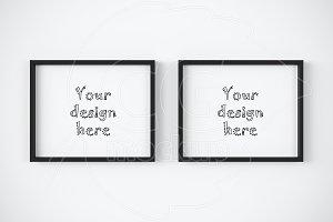 Set of 2 horizontal frames mockup