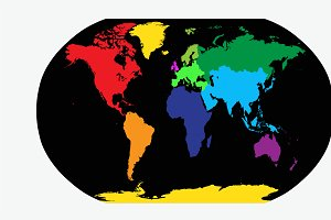 World map, planet earth colored