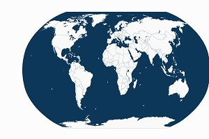 World map with borders and planet