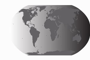 World map gray vector with planet