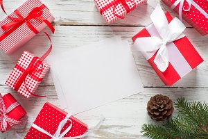 Christmas gift boxes and greeting card.