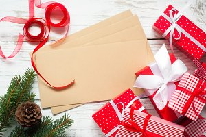 Christmas gift boxes and envelopes.