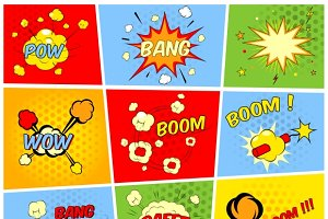 Comic boom or blast explosions