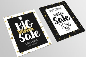 Set of Christmas Sale Flyer Template
