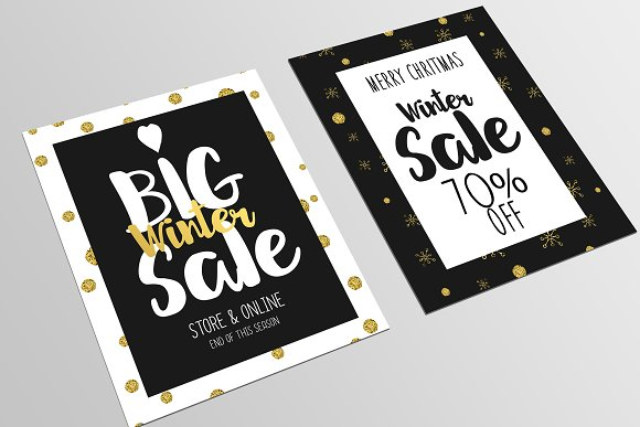 Set of Christmas Sale Flyer Template Flyer Templates on Creative – Sale Flyer Design