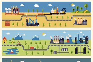 Industrial factories banners