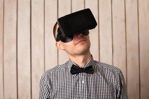 Man in virtual reality helmet.
