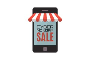 Cyber Monday, mobile store concept.