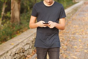 Teenager with a mobile
