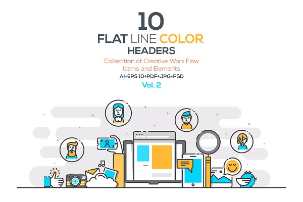 Set of Flat Line Color Banners
