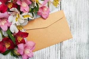 Envelope with alstroemeria flowers