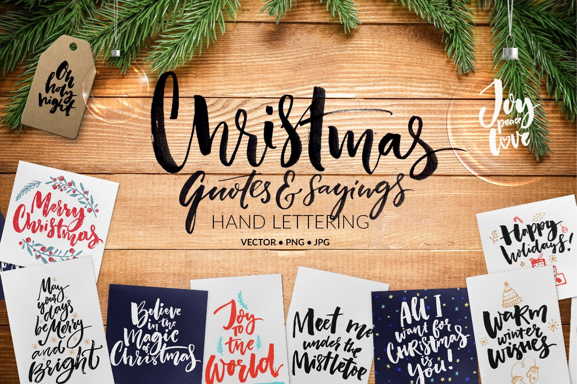 Christmas Quotes Overlays Cards Illustrations Creative Market
