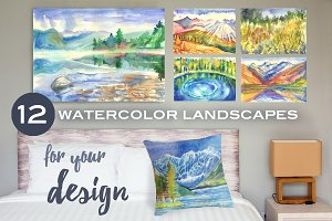 Watercolor mountain landscapes.
