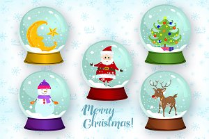 Christmas Snow Globes Vector Set