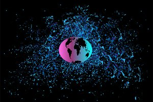 Planet earth in space vector pink