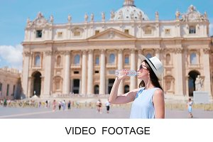 Happy tourist in Vatican city
