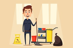Janitor with equipment