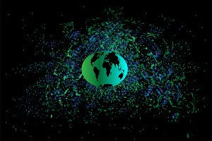 Planet earth in space green vector