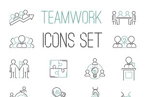 Vector teambuilding thin line icons