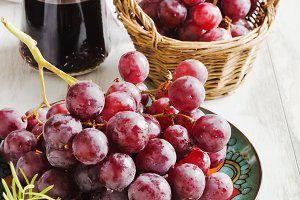 ripe grapes and wine