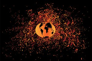 Planet earth in space, orange color