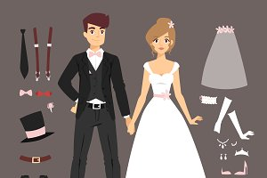 Cartoon wedding couple vector set