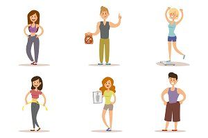 Fitness people weight loss vector