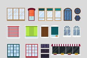 Different types house windows vector