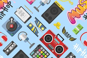 Graffiti wall hip hop pattern vector