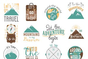 Travel motivation bage vector set